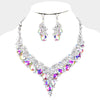 Teardrop AB Crystal Vine Statement Necklace Set