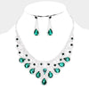 Emerald Crystal Teardrop Rhinestone Pageant Prom Necklace Set