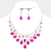 Fuchsia Crystal Teardrop Rhinestone Pageant Prom Necklace Set