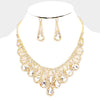 Clear Crystal Teardrop Rhinestone Pageant Prom Necklace Set on Gold