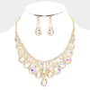 AB Crystal Teardrop Rhinestone Pageant Prom Necklace Set on Gold