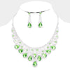Green Crystal Teardrop Rhinestone Pageant Prom Necklace Set