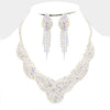 AB Crystal Rhinestone Collar Evening Necklace | Prom Necklace