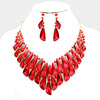 Red Crystal Cluster Statement Pageant Evening Necklace