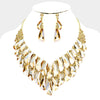 Gold Crystal Cluster Statement Pageant Evening Necklace