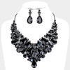 Faceted Teardrop Black Crystal Cluster Pageant Necklace  | Evening Necklace