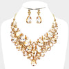 Faceted Teardrop Gold Crystal Cluster Pageant Necklace  | Evening Necklace