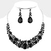 Black Crystal Teardrop Leaf Evening Necklace