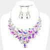 Chunky AB Crystal Statement Necklace | Evening Necklace