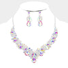 AB Teardrop and Round Rhinestone Crystal Necklace Set