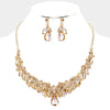 Elegant Gold Crystal and Rhinestone on Gold Vine Prom Necklace | Pageant Necklace