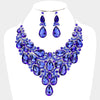 Sapphire Crystal Teardrop Statement Prom Necklace Set | Pageant Necklace Set