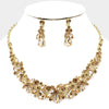 Gold Crystal Floral Teardrop Pageant Necklace | Homecoming Jewelry