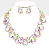AB Crystal Rhinestone Trim Teardrop Collar Evening Necklace on Gold
