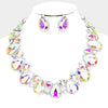 AB Crystal Rhinestone Trim Teardrop Collar Evening Necklace