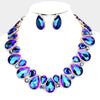 Blue Crystal Rhinestone Trim Teardrop Collar Evening Necklace on Gold