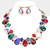 Multi-Color Crystal Rhinestone Trim Teardrop Collar Evening Necklace on Gold