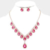 Pink Crystal Teardrop Necklace