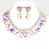 AB Crystal Marquise Rhinestone Bib Statement Necklace on Gold