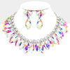 AB Crystal Marquise Rhinestone Bib Statement Necklace