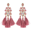 Boho Chic Pink Opal Tassel Fun Fashion Earrings