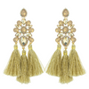 Boho Chic Gold Opal Tassel Fun Fashion Earrings | EY10886GCP