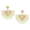 Ivory Raffia Drop Tassel Fun Fashion Earrings
