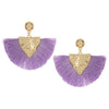 Purple Fabric Fan Fun Fashion Tassel Earrings
