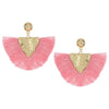 Pink Fabric Fan Fun Fashion Tassel Earrings