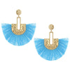 Gold Post Aqua Fabric Fun Fashion Tassel Earrings