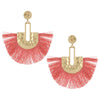 Gold Post Peach Fabric Fun Fashion Tassel Earrings