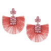 Pink Stone and Fabric Fun Fashion Tassel Earrings on Rose Gold