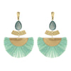Teal Raffia Drop Tassel Fun Fashion Earrings
