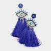 Blue Crystal Embellished Tassel Fun Fashion Earrings