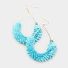 Fun Fashion Teal Drop Tassel Earrings