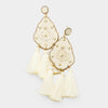 Ivory Studded Leather Triple Tassel Fun Fashion Earrings