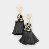 Crystal Teardrop Black Tassel Fun Fashion Earrings