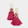 Crystal Teardrop Burgundy Tassel Fun Fashion Earrings