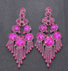 Mini Fuchsia Crystal Chandelier Earrings | Prom Earrings | LMB - 004