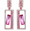 Pink Crystal Rectangle Pageant Earrings | LMBPinkSquare