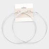 14K Gold Filled Silver Metallic Hoop Earrings | 3.75"