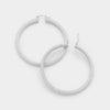 Silver Hoop Catch Earrings | 2.25""