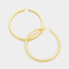 • Color : Gold • Size : 8 cm • 8 cm Oversized metal hoop pin catch earrings