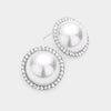 White Pearl and Rhinestone Bridal Earrings | Wedding Earrings | 472124