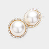 Cream Pearl and Rhinestone Bridal Stud Earrings on Gold | Wedding Jewelry