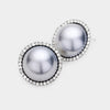 Hematite Pearl and Rhinestone Bridal Stud Earrings  | Wedding Jewelry