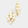 Crystal Rhinestone Cream Pearl Cluster Clip On Bridal Earrings