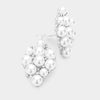 Crystal Rhinestone White Pearl Cluster Clip On Bridal Earrings | 390505