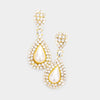 White Pearl Teardrop with Rhinestone Accents Bridal Earrings on Gold | Wedding Earrings
