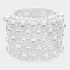 Abstract White Pearl Stretchable Bridal Bracelet | Wedding Bracelet